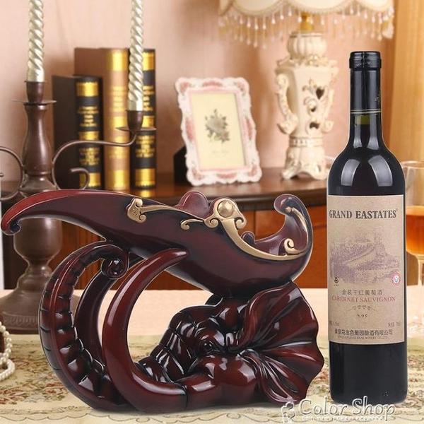 酒架歐式大象紅酒架創意客廳家居樹脂擺件卡通葡萄酒瓶架酒櫃展示架子 母親節特惠