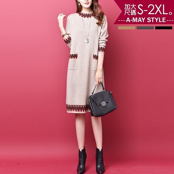 加大碼-典雅印花針織棉長袖連身裙(M-2XL)