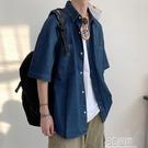 夏季薄款牛仔襯衫男短袖休閒港風百搭韓版潮流寬松潮復古水洗外套 3C優購
