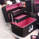 韓國雙層大容量專業化妝箱手提防水「時尚彩虹屋」