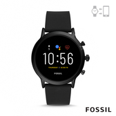 FOSSIL GEN 5智能錶卡萊爾HR-黑色矽膠手錶44MM FTW4025