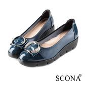 SCONA 蘇格南 全真皮 輕盈舒適鑽扣楔型鞋 藍色 31034-2