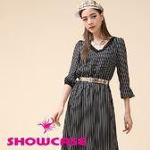 【SHOWCASE】質感V領條紋雪紡短袖長洋裝(黑)