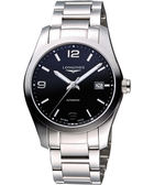 LONGINES 浪琴 Conquest Classic 經典時尚機械腕錶/手錶-黑/銀 L27854566