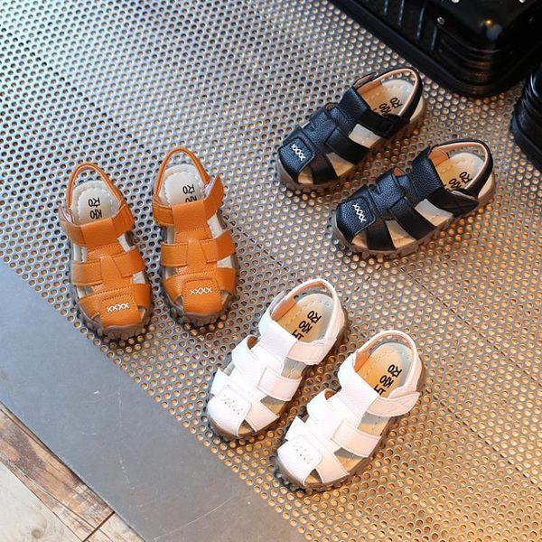 2018夏季新款兒童涼鞋皮軟底包頭 寶寶牛筋底 防滑大小男童沙灘鞋 生日禮物 創意