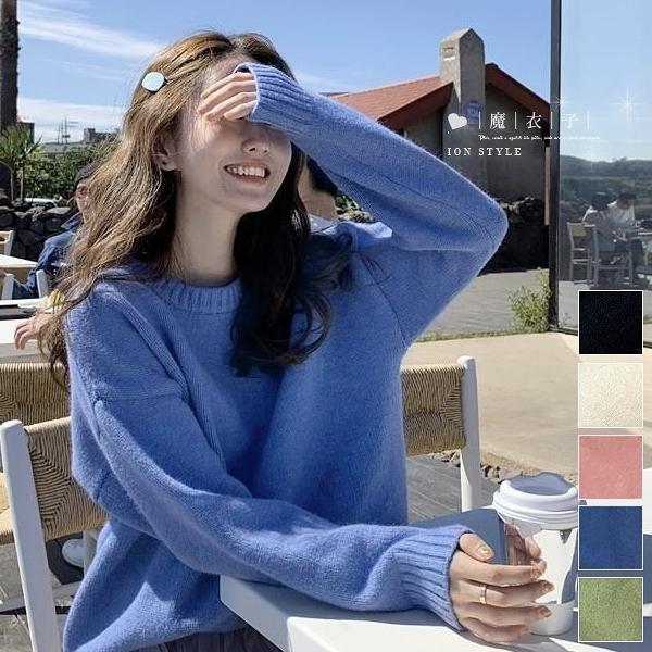 【QV3192】魔衣子-純色圓領寬鬆長袖針織上衣