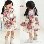女童小童兒童雨衣韓版時尚甜美花朵可愛學生大帽檐雨披防水服親子    琉璃美衣