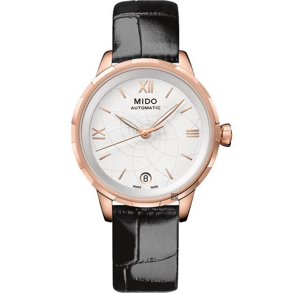 MIDO 美度 Rainflower 花雨系列機械女錶-白x黑/34mm M0432073601800