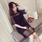 赫本風小黑裙子吊帶背心性感A字裙蕾絲鏤空洋裝兩件套裝女夏季 依夏嚴選