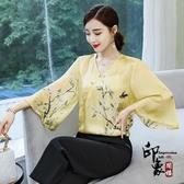中國風媽媽女裝 旗袍斜襟盤扣上衣 改良式漢服漢元素上衣 萬聖節鉅惠