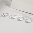 S925純銀經典鋯石六爪戒指女歐美鑲鑽可調節開口克拉鑽戒首飾