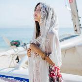 女性絲巾 蕾絲圍巾絲巾女民族風新娘防曬紗巾兩用沙灘 珍妮寶貝