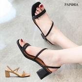 涼鞋.清涼簡單釦環中跟涼鞋【K4267】黑 / 杏