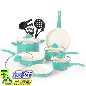 [8美國直購] 廚具套裝 GreenLife CW000531-002 Soft Grip Absolutely Toxin-Free Healthy Ceramic 14-Piece Turquoise