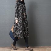 秋冬新款女裝2019韓版寬鬆大碼高領連衣裙純棉麻保暖加厚夾棉衛衣