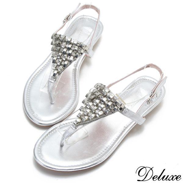 【Deluxe】全真皮巴黎氣質女伶水鑽夾腳涼鞋(銀)
