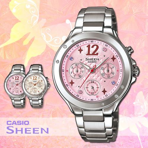CASIO手錶專賣店 卡西歐 SHEEN SHE-3032D 女錶 三眼 防水50米 礦物玻璃 不鏽鋼錶帶