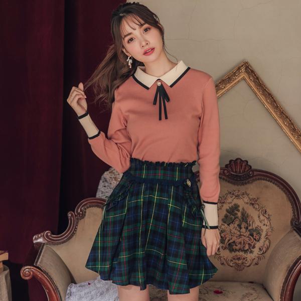 褲裙 露比設計‧格紋壓摺荷葉後鬆緊褲裙-Ruby s 露比午茶
