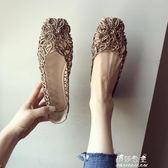 新款女鞋子大碼網狀鏤空方頭包頭平跟平底涼鞋 伊莎公主