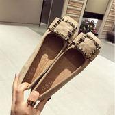 新款淺口鞋皮帶扣蝴蝶結平底鞋大碼平跟軟底方頭小單鞋女鞋【全館免運】