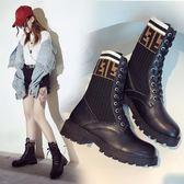 秋冬新款馬丁靴女高幫粗跟學生系帶短靴針織彈力襪子靴機車靴