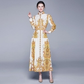 實拍澳洲貴婦2019女裝 復古寬鬆印花長袖大擺黃色連衣裙