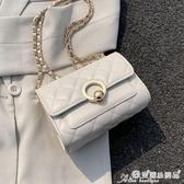 小方包 夏天洋氣小包包女包2020新款潮時尚錬條菱格包百搭側背斜背小方包 愛麗絲