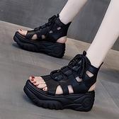 厚底涼鞋女2021年新款夏季高跟百搭休閒時裝運動鬆糕高筒羅馬女鞋【快速出貨】