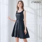 OMUSES 緞布簡約晚宴伴娘婚紗訂製黑色短禮服