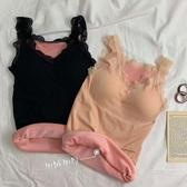 無袖背心女秋冬新款修身蕾絲加絨保暖吊帶打底衫韓版上衣 青山市集