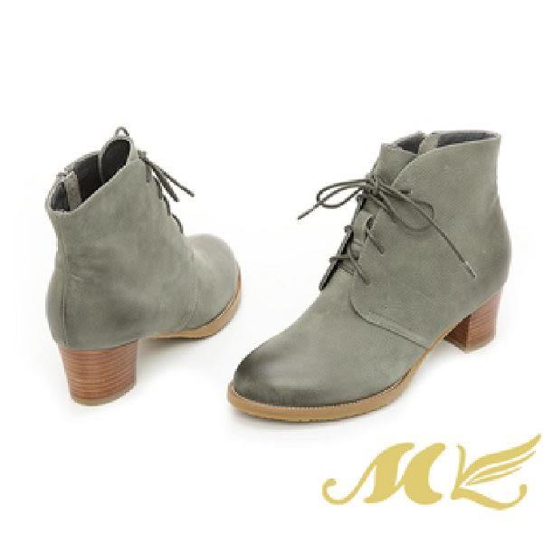 MK-手作真皮系列-經典刷色綁帶短靴-綠色
