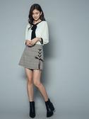 秋冬7折[H2O]側邊穿繩裝飾前片裙型短褲 - 藍/紫/咖格色 #9638003