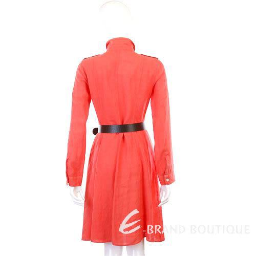 MARELLA 橘紅色排釦長袖洋裝(附腰帶) 1210356-17