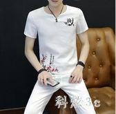 男士2018夏季新款棉麻套裝潮流男裝個性上衣兩件套 js3713『科炫3C』