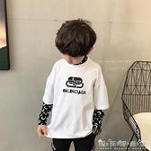 童裝男童秋裝新款上衣寶寶假兩件中領長袖T恤中大童打底衫潮晴天時尚