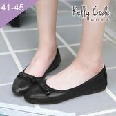 大尺碼女鞋-凱莉密碼-新款簡約蝴蝶結柔軟亮面布尖頭平底鞋蛋捲鞋1cm(41-45)【GLT29】黑色