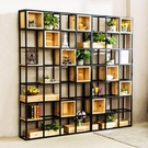美式鐵藝實木屏風隔斷工業風落地置物架儲物櫃LOFT復古書架展示架