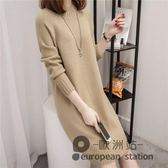 針織衫/秋冬新款半高領套頭毛衣女寬鬆韓版中長款打底純色毛衣裙