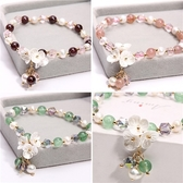 花朵手串萬聖節裝扮~天然淡水珍珠草莓水晶小眾設計感貝殼手鍊-3色(P12221)【水娃娃時尚童裝】