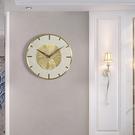 北歐輕奢大理石挂鍾客廳家用創意時尚鍾飾挂牆時鍾現代簡約銅鍾表  降價兩天