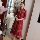 (現貨+預購 RN-girls)-精品中國風復古民俗刺繡長袖洋裝小禮服