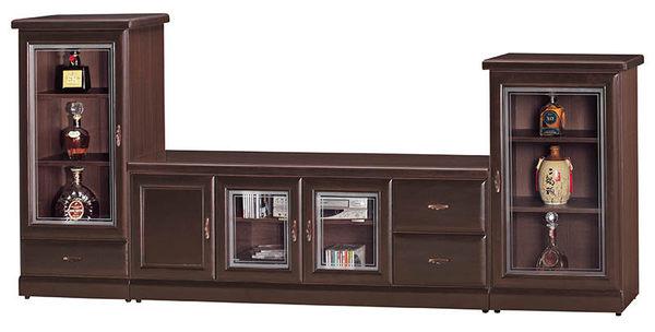【森可家居】英倫復古胡桃矮單抽展示櫃 8SB214-5 玻璃酒櫃 木紋質感