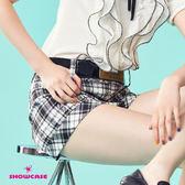 【SHOWCASE】休閒格紋反褶寬口短褲(黑)