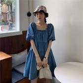 2020新款夏季藍色牛仔裙泡泡袖娃娃裙法式連衣裙女韓版小個子裙子 依凡卡時尚