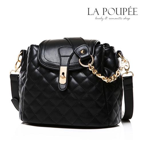 側背包 經典百搭歐風菱格紋水桶包 經典黑-La Poupee樂芙比質感包飾 (現貨