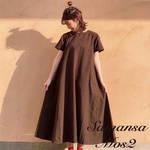 「Summer」條紋/素面蝴蝶綁結ALINE短袖洋裝 (提醒→SM2僅單一尺寸) - Sm2
