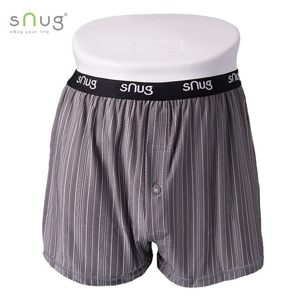 Snug 四角褲 平口內褲 男 灰白 寬腰帶 舒適 涼感機能 透氣輕薄 吸濕 除臭 頂級竹炭纖維 K003G