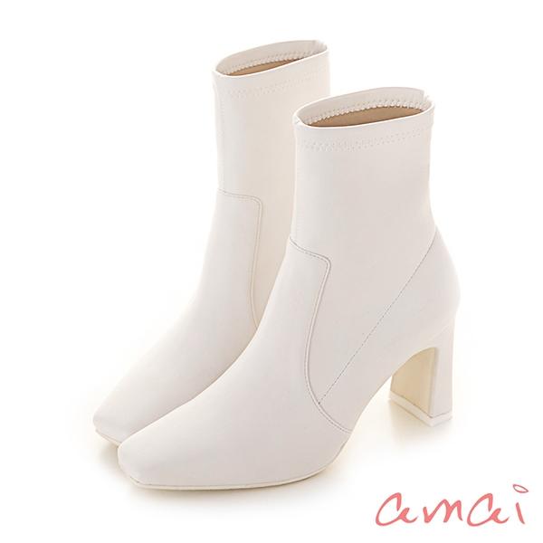 amai好比例小方頭皮革襪靴 白