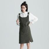 SISJEANS-軍綠燈心絨吊帶短裙【1729502274】