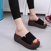 夏季韓版厚底坡跟涼拖鞋女士磨砂皮鬆糕底一字拖涼鞋新款女鞋  凱斯盾數位3C